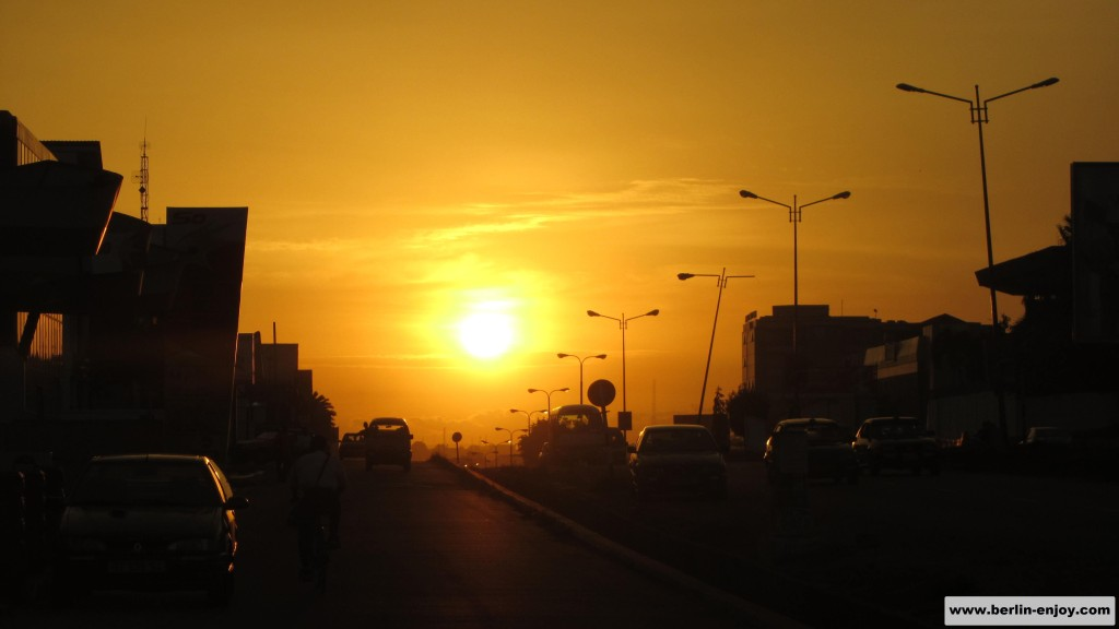 Accra Ghana at night sunset