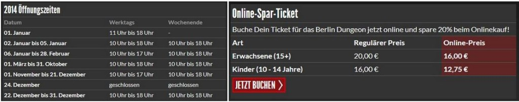 Opening Hours and Prices Berlin Dungeon 2014