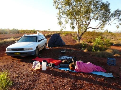 Sleeping in the desert Australia