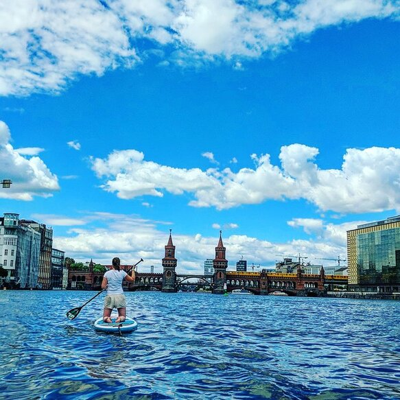 Enjoying the view in Berlin from a SUP-Board